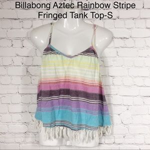 Billabong Boho Aztec Rainbow Stripe Fringed Tank-S